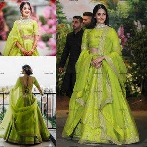 Vestido 2 En 1 Green Indian saree Wedding Dresses Sparkly Appliques Beaded Arabic Dubai Bridal Gowns Robe De Soirée De Mariage