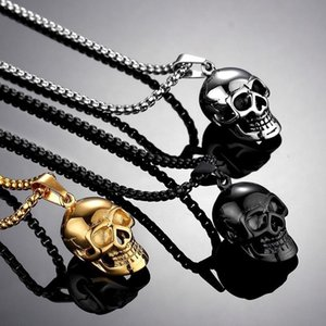 Retro Skull Pendant Necklace Men Women Chain Biker Punk Jewelry Gift Wholesale Necklaces