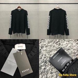 2021 RHUDE Knit Kazak Erkek Kadın Dama Rhude Kazak 1: 1 Yüksek Kaliteli Püskül Örme Sweatroat Checkerboard