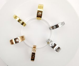 Fashion Jewelry 4mm 6mm Love Ring Diamond Rose Gold Designers Rings for Wedding or Gift With Case