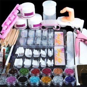 Acrylic Nail Art Manicure Kit 12 Color Nails Glitter Powder Decoration Pen Brush False Finger Pump