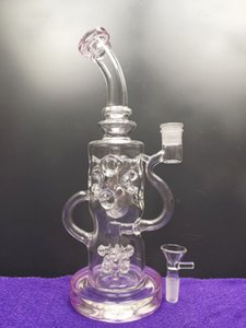 Glass bong beaded perc recycler oil rigs with bowl piece eggs bongs glass recycler with holes smoking pipes bubbler dhping
