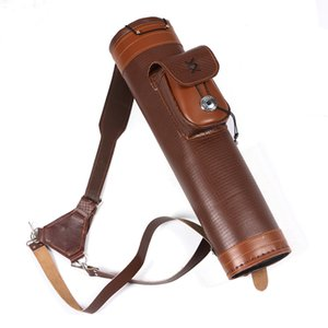 Traditional Shoulder Back Quiver Bow Leather Arrow Holder with Large Pouch Handmade Straps Belt Bag Brown