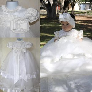 Lovely White Christening Dresses For Babies Bow Sash Toddler Puffy Baptism Gowns Kids First Communication Dress Real Photo