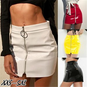 Womens Ring Zipper Skirts Fashion Trend Bright Leather PU Casual Party Skirt Designer Female Summer Sexy Slim Low Waist Mini Short Dresses