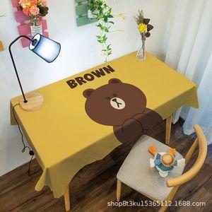 Cute bear waterproof and wash free cartoon cloth girl dressing desk mat dining tea table cloth art22KB