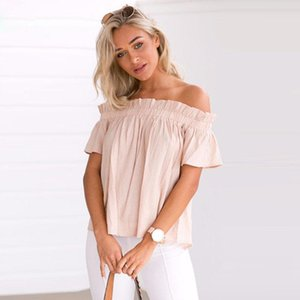 Women's Blouses & Shirts Women Summer Ladies Bow Short Sleeve Slash Neck Off Shoulder Casual Loose Solid Tops Plus Size Blusas