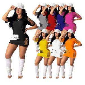 Womens Marque Letter Impression Robes De Mode Sleeve Courte Skinny Skinny Jupes Designer Femme Solide Couleur O-Cou Décontracté Robe à branches