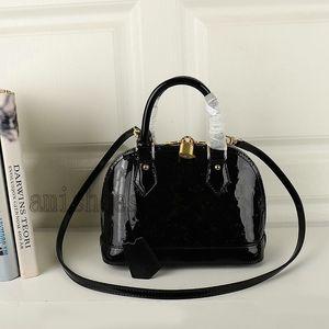 BB PM Alma 2way Satchel Patent Leather Shoulder Shell Bags M91606 Mini CrossBody Womens Luxurys Designers Handbag Handle Bag Totes Purse