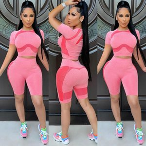 Women's Tracksuits Casual Two-piece Fashion Trend Summer Street Style Short Sleeve Round Neck Pink Sports Suit