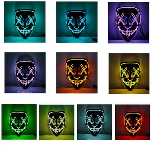 Party Masks Cold light Halloween mask LED glowing black V-shaped bloody horror Festival Cosplay Costume Supplies 10 colors