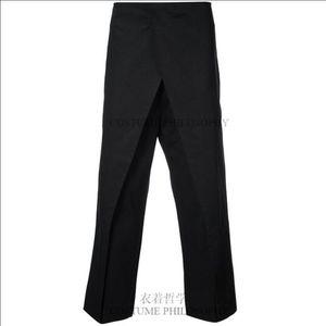 Design Men's Double Layer Casual Nine Points Pants Hairstylist Spliced Split Trousers 27-44 Plus Size Singer Costumes