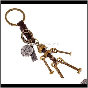 Punk Movable Screw Bolt Keychain Bronze Robot Keyring Bag Hangs Rings Key Holders Fashion Jewelry Will And Sandy Zwnah K6Sbd