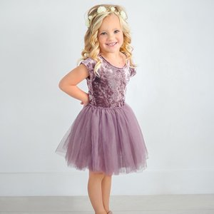 Bambina Velvet in pelle scamosciata in tulle abito tu abito manica corta tinta unita principessa vestito estate bambini abbigliamento abbigliamento bambini vestiti