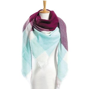 Winter Scarf Women Plaid Designer Triangle Cashmere Shawls Women's Scarves Drop VA055 Bandanas