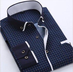 Men Fashion Casual Long Sleeved Printed shirt Slim Fit Male Social Business Dress Shirt Men Clothing Soft Comfortable