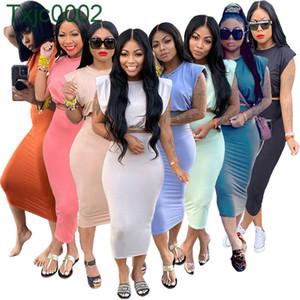 Women Two Piece Dress Summer Designer Wear Sleeveless Shoulder Pad T-shirt One Step Skirt Solid Colour Versatile Casual Suit Tracksuits