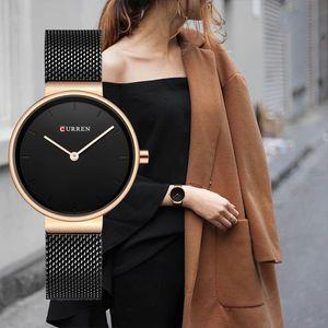 9016 Fashion Blue Ladies Watches Mesh Stainless Steel Quartz Watch Women Luxury Simple Wristwatches Analog Lady Clock