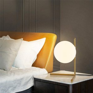Table Lamps 1Pc Modern Glass Ball Gold Simple Bedroom Bedside Reading Desk Lamp Home Decor E27 LED Light (with Bulb)