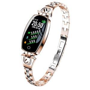 Lüks Bayan Akıllı İzle 2021 Su Geçirmez Kalp Hızı İzleme Bluetooth Spor Bilezik Smartwatch Hediye Kadınlar Için