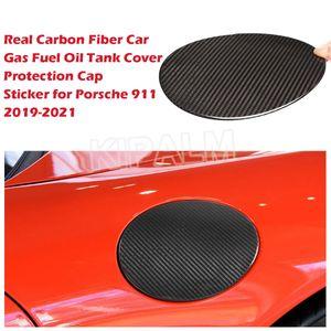 1 piece Car Real Carbon Fiber Sticker Gas Fuel Oil Tank Cover Protection Cap for Porsche 911 2019-2021