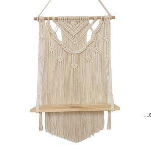 Bathroom Shelves Macrame Wall Hanging Shelf, Single Tier Wood Floating Shelf Organizer Hanger, Handmade Boho Home Decor Promotion FWF9088