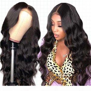 الحرير قاعدة الباروكات البشرية بيرفيا الجسم موجة الدانتيل الجبهة الباروكة للنساء أسود ريمي داتري الشعر