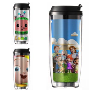 CoComelon JJ Little Boy Straw Cup Straw Cup Cartoon Kids Double Plastic Travel Outdoor Portable Heat Insulation Water Bottle GG31905