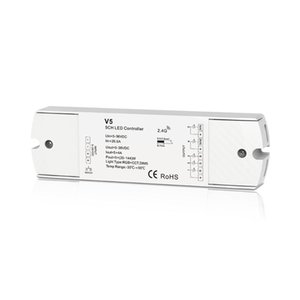 Max 480W 2.4GHz RF LED LED Récepteur sans fil RGB CCT Contrôleur de lampe de la lampe RGB + CCT Lights Strip 5CH 4A / CH DC 5V 12V 24V Controlers