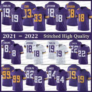 Stitched 18 Justin Jefferson Football Jerseys 33 Dalvin Cook 19 Adam Thielen 22 Harrison Smith 84 Randy Moss 8 Kirk Cousins Danielle Hunter Roxo MinnesotaRoxo