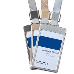 Business High Gloss ID Card Holder With 1.5cm Neck Strap Metal Name Card Case With Lanyard Customize LOGO Porte Badge Holder