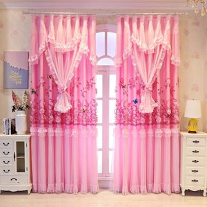 Curtain & Drapes Curtains For Bedroom Blackout Princess Kids Girls Double Layer 3D Floral Lace Window Living Room Wedding