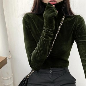 Turtleneck Velvet Tops Women Long Sleeve T Shirts Solid Color Spring Autumn Velour T-Shirts Basic Shirt