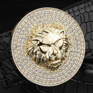 Men Fashion Designer Genuine Leather Luxury Metal Alloy Buckle Lion Cowskin Sash Wide Belt High Quality Ceinture Homme