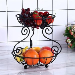 Household Iron 2 Tier Fruit Basket Vintage Style Storage Living Room Snack Container Black Baskets