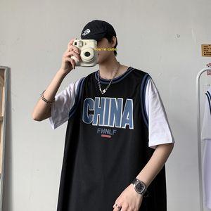 Летний баскетбол носить спортивный костюм мужской корейский стиль модный модный бренд PU Shuai пара поддельных двух штук с короткими рукавами шорты TW