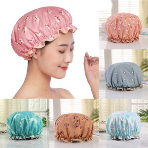 Thick Waterproof Bath Hat Double Layer Shower Hair Cover Women Supplies Shower Cap Bathroom Accessories WXY124
