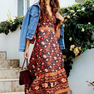 CHAPHE Queens Женщины Цветочные принт с коротким рукавом Sashes Beach Bohemian Длинные платья Дамы крест V шеи Boho Maxi Vestidos Повседневные платья