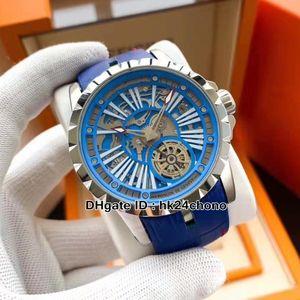 6 ألوان عالية الجودة excalibur 46 DBEX0668 التلقائي رجل ووتش الفضة الصلب حالة الأزرق الجلود حزام الهيكل العظمي الهاتفي الساعات الرياضية