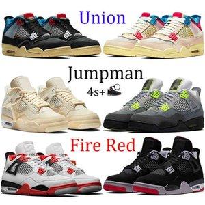 4 4s Union Noir Guava Buz Jumpman Erkekler Basketbol Ayakkabı Yelken Neon Metalik Mor Basketbol Sneakers Kara Kedi Bred Ateşi Kırmızı Eğitmenler