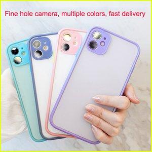 Cajas de teléfono celular para Apple 12pro 7 8p XR Hit Colores Pegamento iPhone X All-Inclusive 11 Borde suave Color sólido 6 Funda de teléfonos móviles