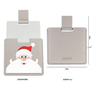 Christmas PU Leather Pocket Makeup Mirror Cartoon Travel Portable Mini Mirrors Creative Halloween Gift HHA8873