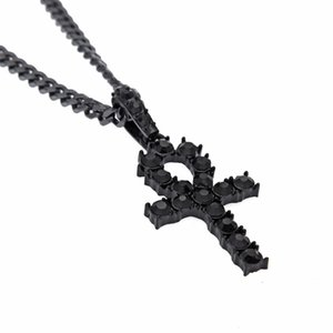 Egyptian Ankh Colliers Key Crystal Crystal Crosstal Cross Out Pendentif et Hip Hop Bling Glafed Out Hommes Bijoux 236 R2