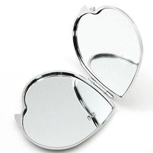 DIY Makeupiegel Eisen 2 Gesicht Sublimation leeres plattiertes Aluminium-Blech-Mädchen-Geschenk Kosmetik-Kompakter Spiegel Tragbare Dekoration MMA204