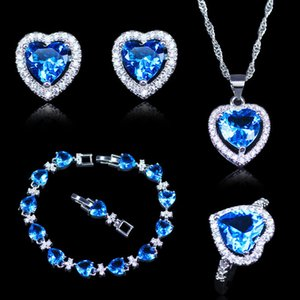 Arrival Christmas Gift For Women Sky Blue Crystal White Zircon Silver Color Jewelry Heart Bracelets Sets