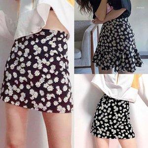 Mini Skirt Skirts Womens High Waist Floral Satin Short A Line Daisy Print Women1