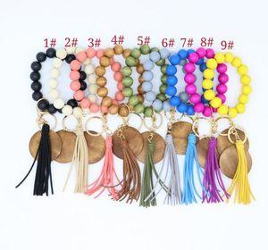 Korean Velvet Tassel Disc Sawdust Bracelets Printable Pendant Elastic Cord Keychain Multicolor Selection