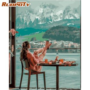 Paintings RUOPOTY Oil Picture By Numbers Kits For Adults Woman Travel On Village Figure Painting Number Handmade Diy Framed Home Arts