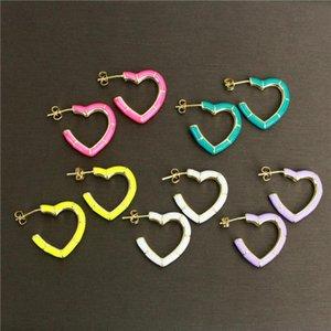 Stud 10pair lot Colorful Heart Shape Enamel Earring Stud,plated Charm Earring, Women Love Earrings Wholesale