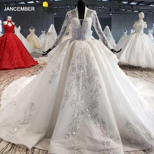 Other Wedding Dresses HTL1028 Dress Long Sleeve Lace Top 2021 V Neck Appliques Sequined White Women Gown With Train Vestidos De Noiva1